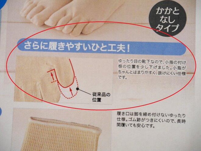シルクを綿で守る5本指ソックス_小指の付け根